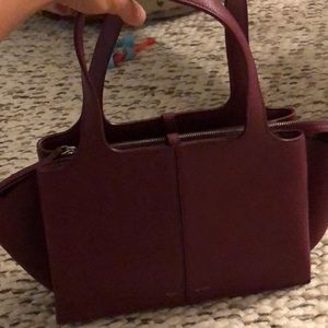 Celine trifold medium grained calf skin burgandy